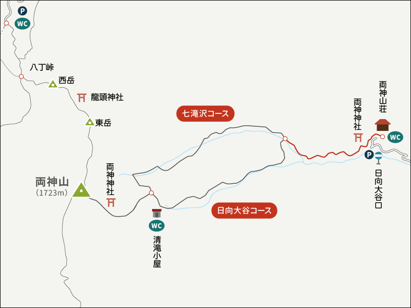 両神山イラストマップ