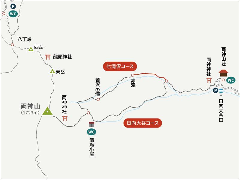 両神山登山イラストマップ七滝沢コース1