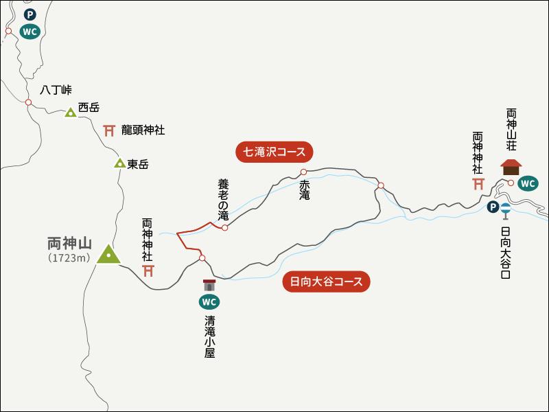 両神山登山イラストマップ七滝沢コース3