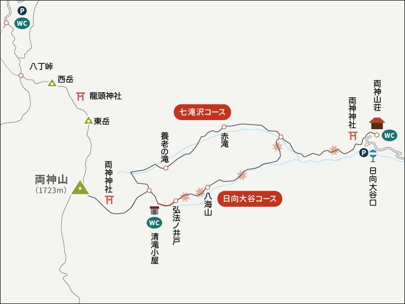 両神山表参道コース日向大谷口イラストマップ1