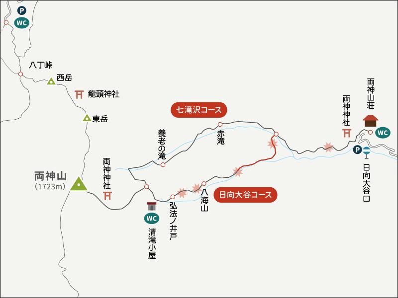 両神山表参道コース日向大谷口イラストマップ3