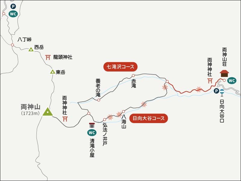 両神山表参道コース日向大谷口イラストマップ4