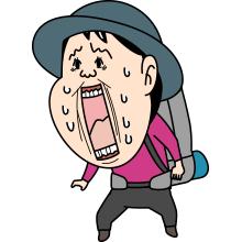 悲鳴をあげる登山者のイラスト