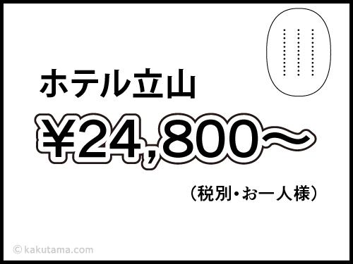 ホテル立山の料金が表示された漫画