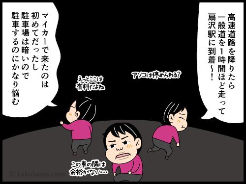 扇沢駅の駐車場に着いた漫画