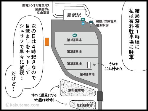 扇沢駅の駐車場に車を停めた漫画