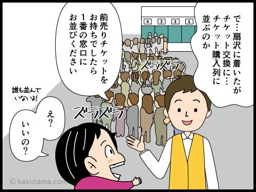 扇沢駅でチケット買うために並ぶ漫画