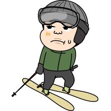 困った顔のスキーヤーのイラスト