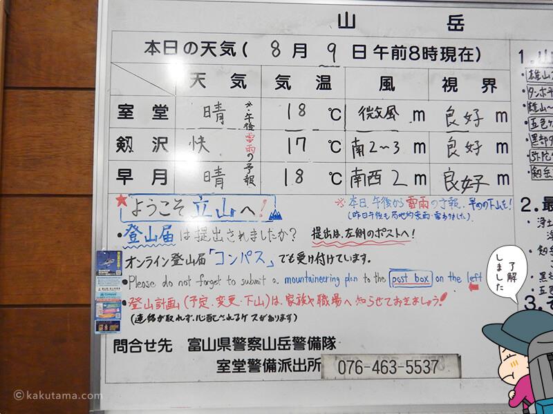 室堂駅構内の注意書き1