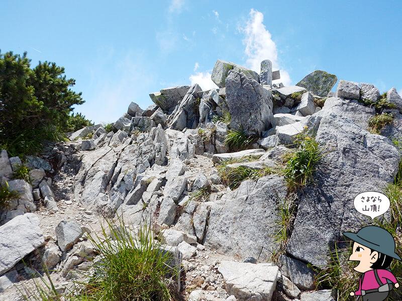 奥大日岳から下山開始1