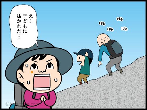 歩くのが遅い登山者が次々と抜かれて行く漫画2