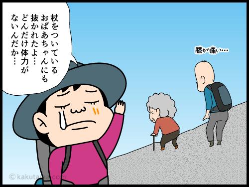 歩くのが遅い登山者が次々と抜かれて行く漫画4