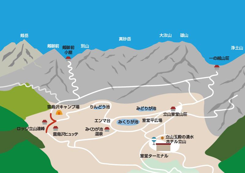 雷鳥荘から雷鳥沢キャンプ場までのイラストマップ