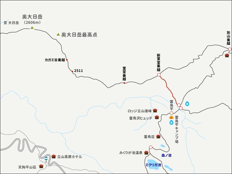 奥大日岳イラストマップ1