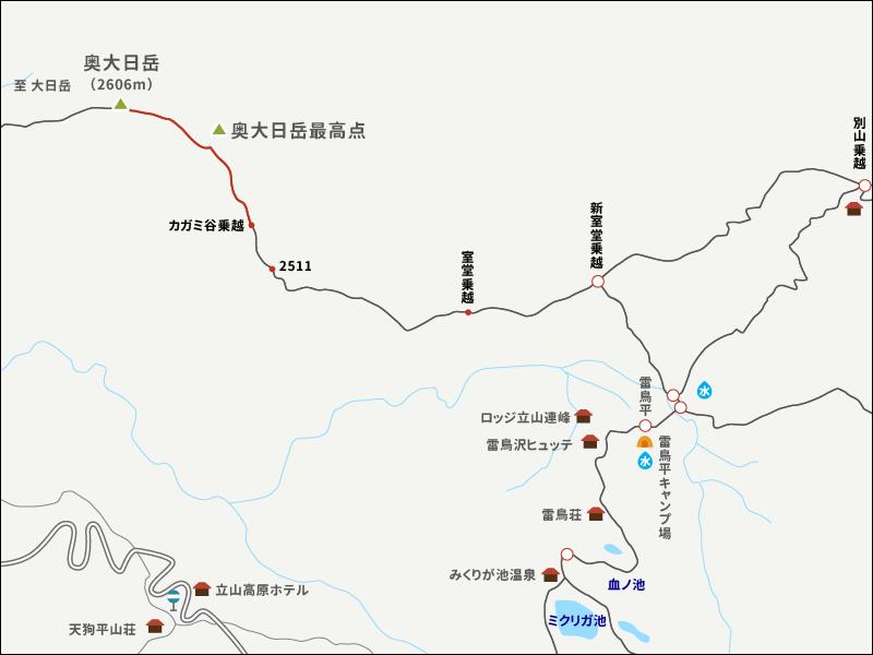 奥大日岳イラストマップ3
