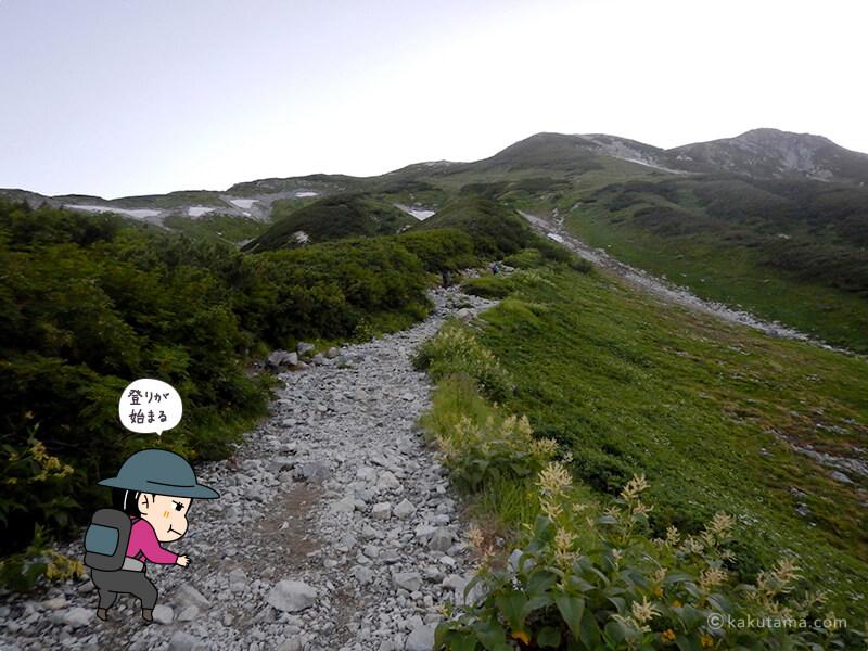 雷鳥坂を登る