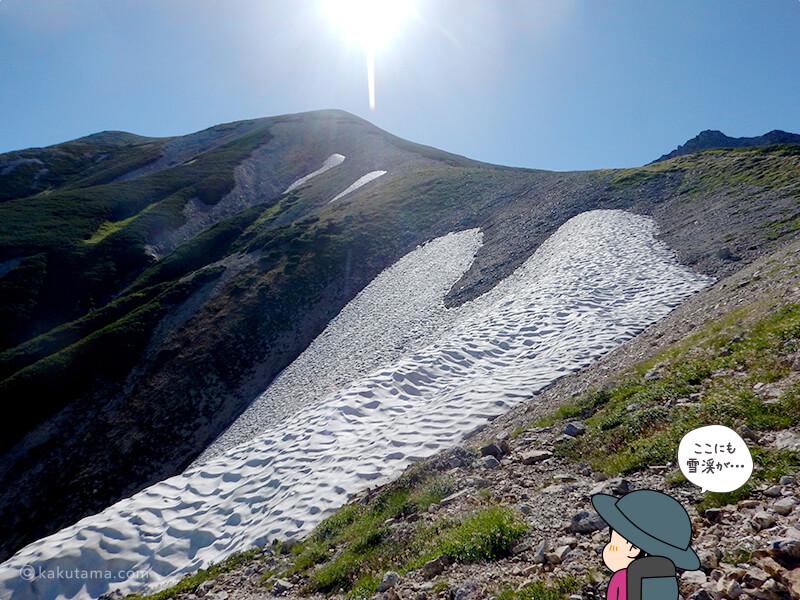 大走り分岐から見た雪渓