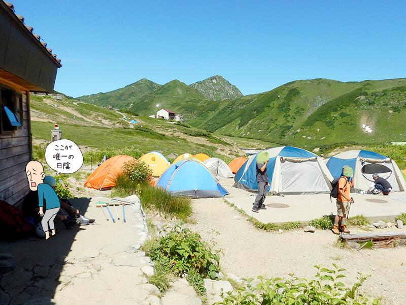 雷鳥沢キャンプ場のテント