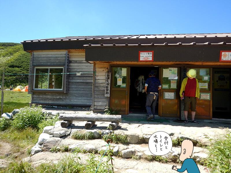 雷鳥沢キャンプ場のテント場受付