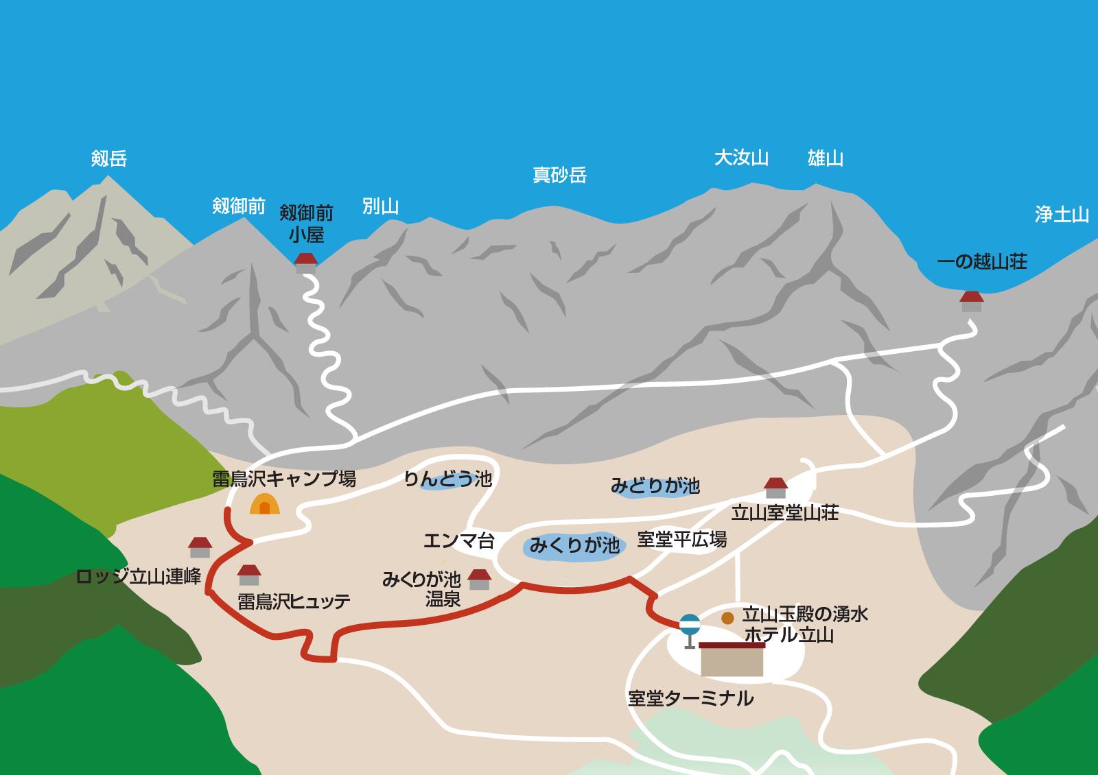 雷鳥沢キャンプ場から室堂ターミナルまでのイラストマップ