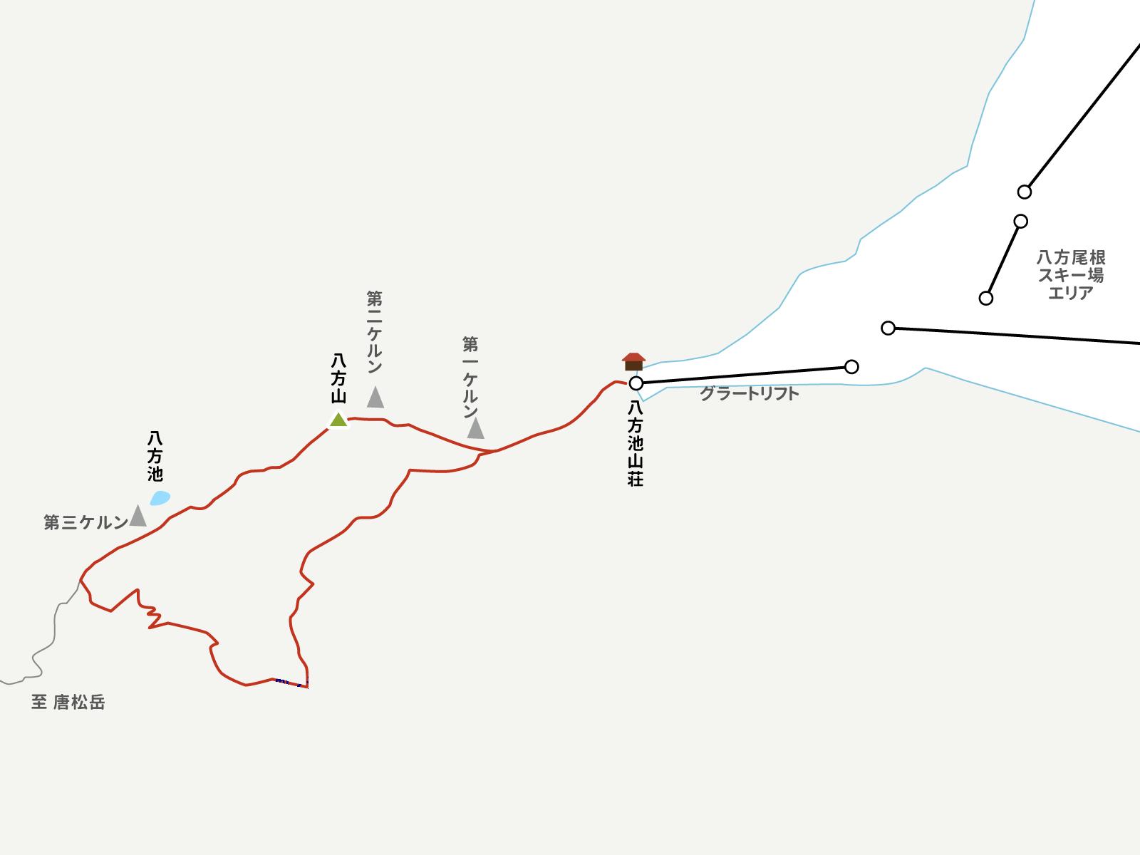 八方尾根スキー場から八方池までのイラストマップ