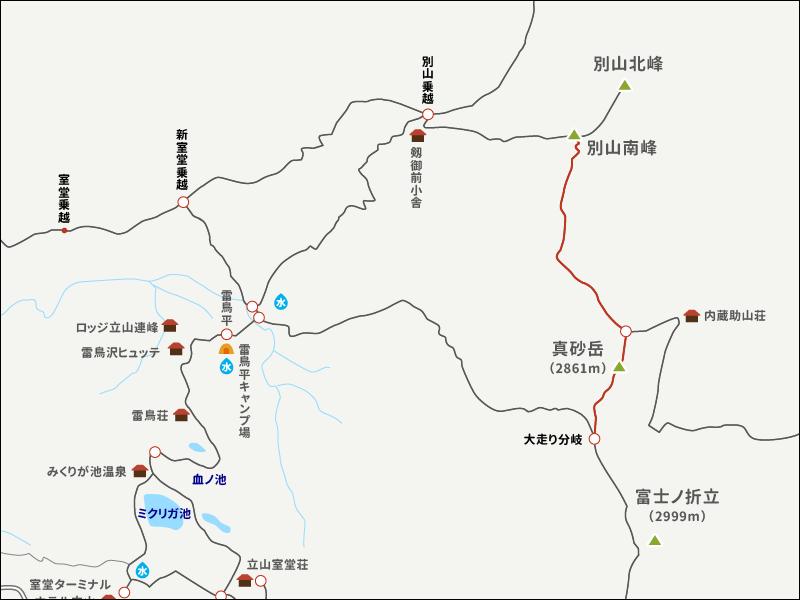 別山真砂岳のイラストマップ3