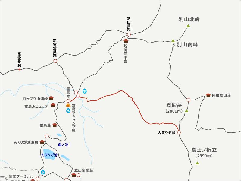 別山真砂岳のイラストマップ4