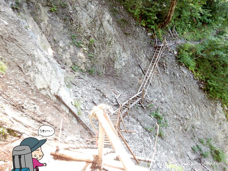 崖に沿って建つハシゴ