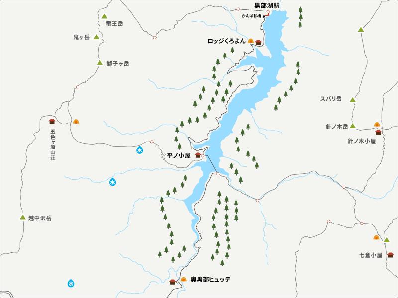 黒部湖駅からかんぱ谷橋までのイラストマップ