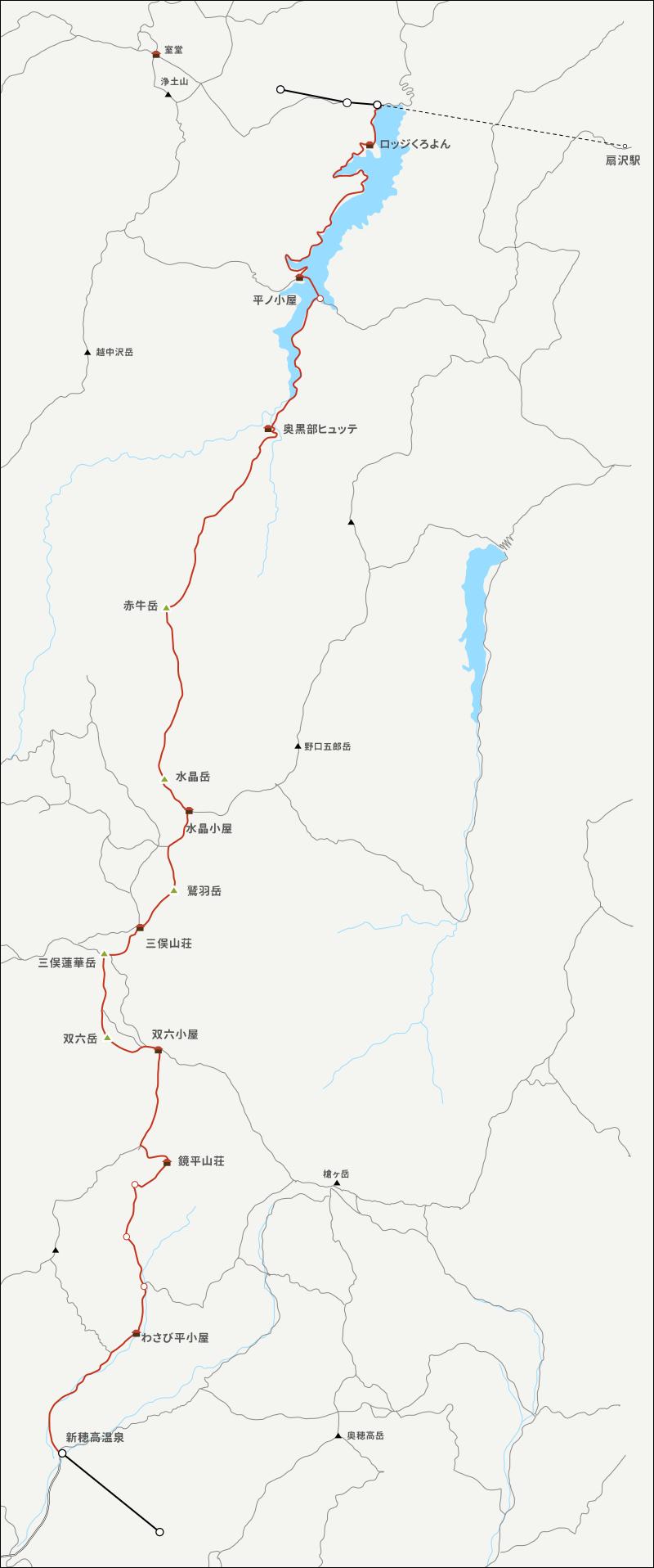 黒部ダムから新穂高温泉までのイラストマップ