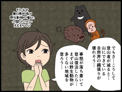 世の中の事情で登山を断念している登山者の漫画3