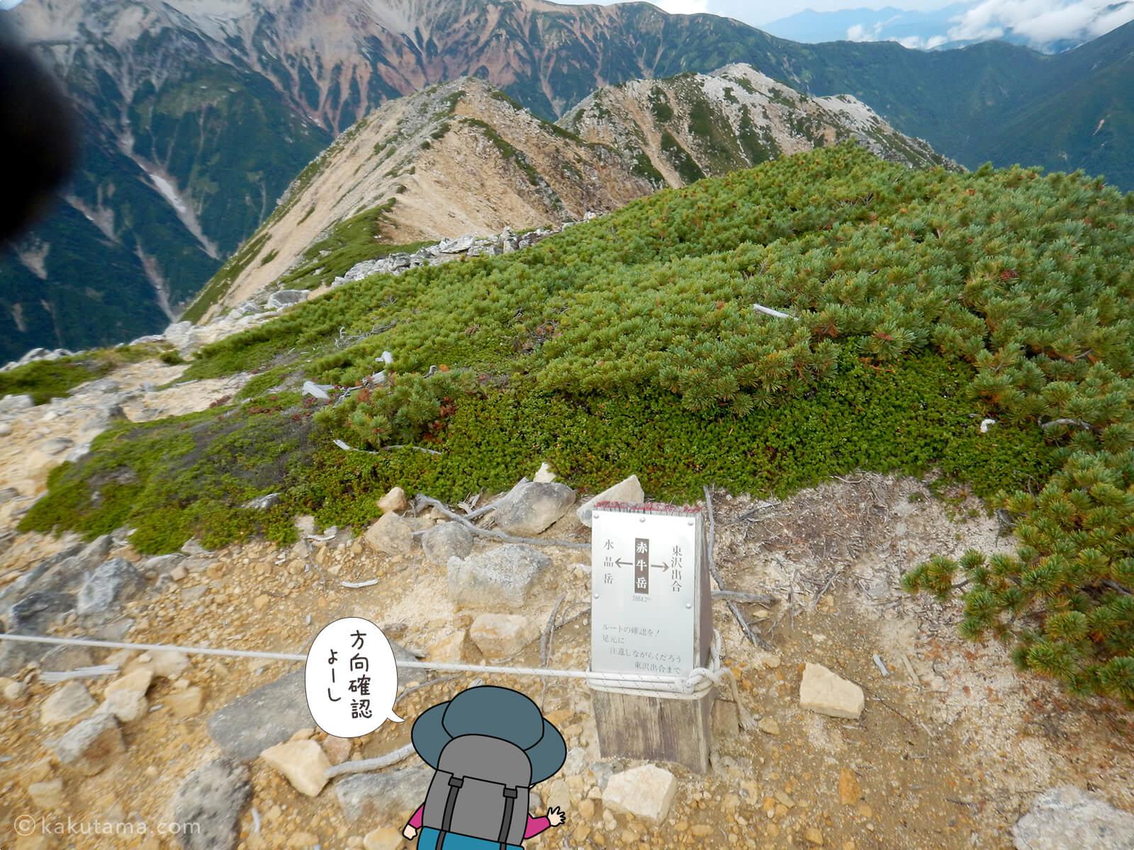 赤牛岳から水晶岳へ向かって出発