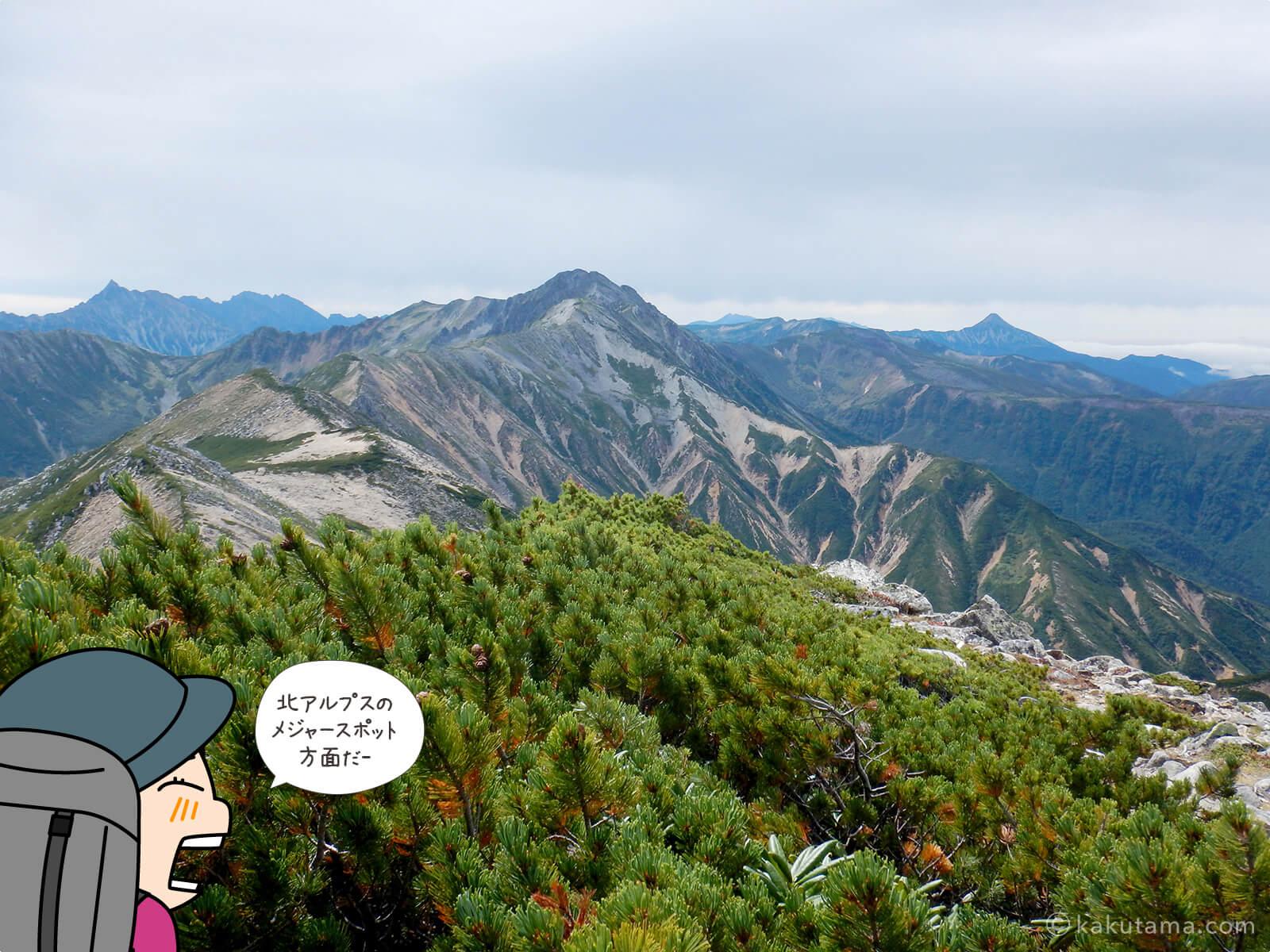 赤牛岳から見た槍ヶ岳方面