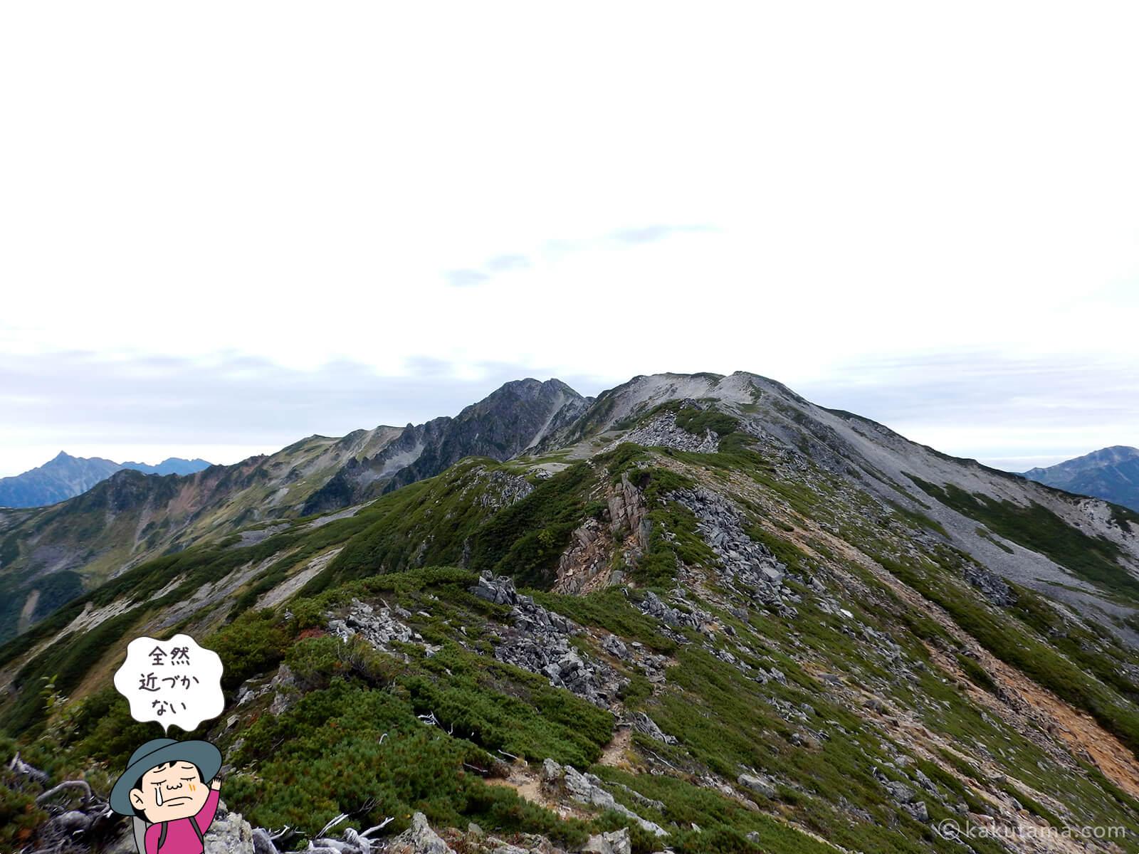 水晶岳はまだまだ遠い