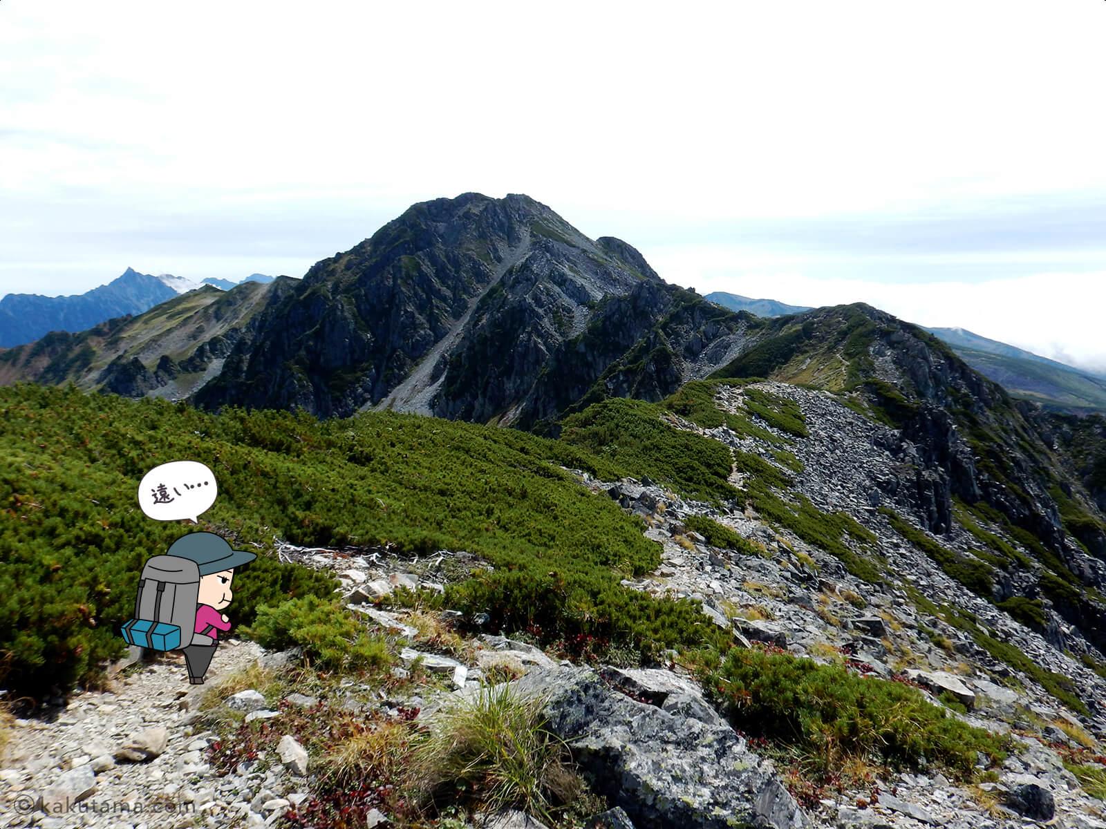 水晶岳へ向かって歩き出す3