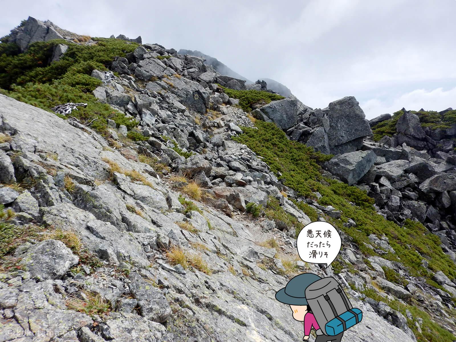 けっこう辛い水晶岳への登山道5