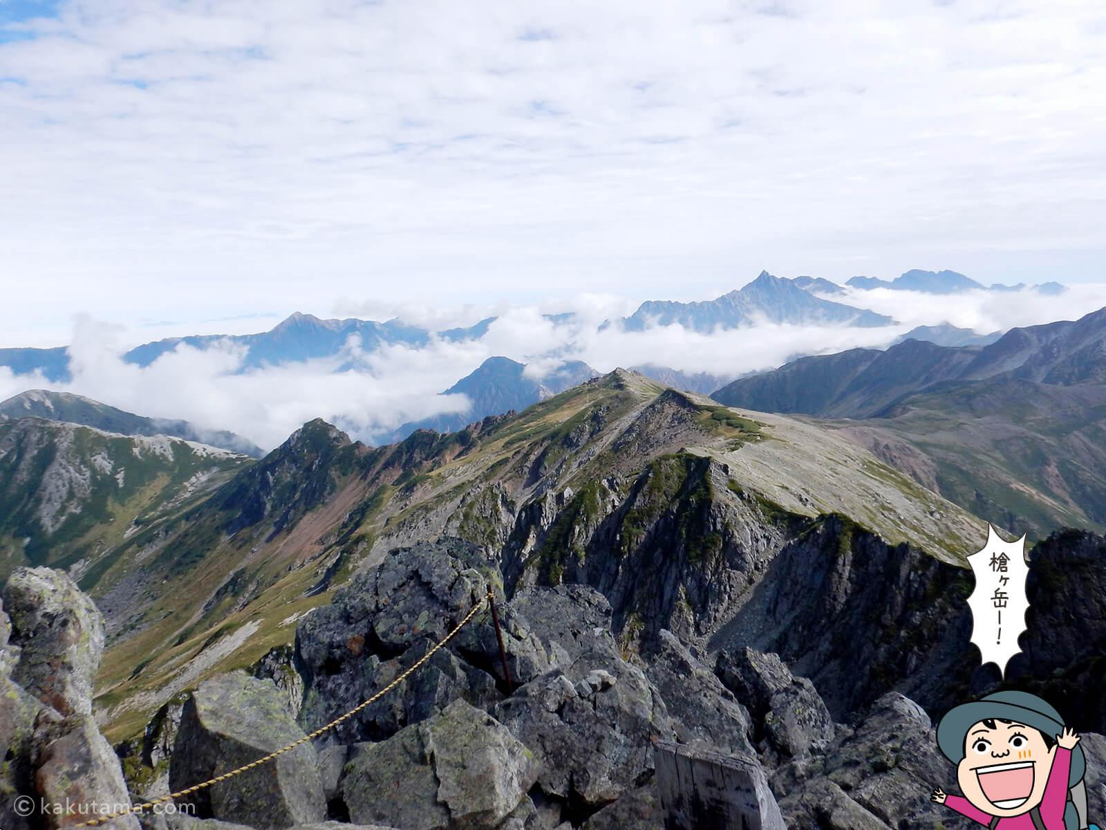 水晶岳から見る槍ヶ岳