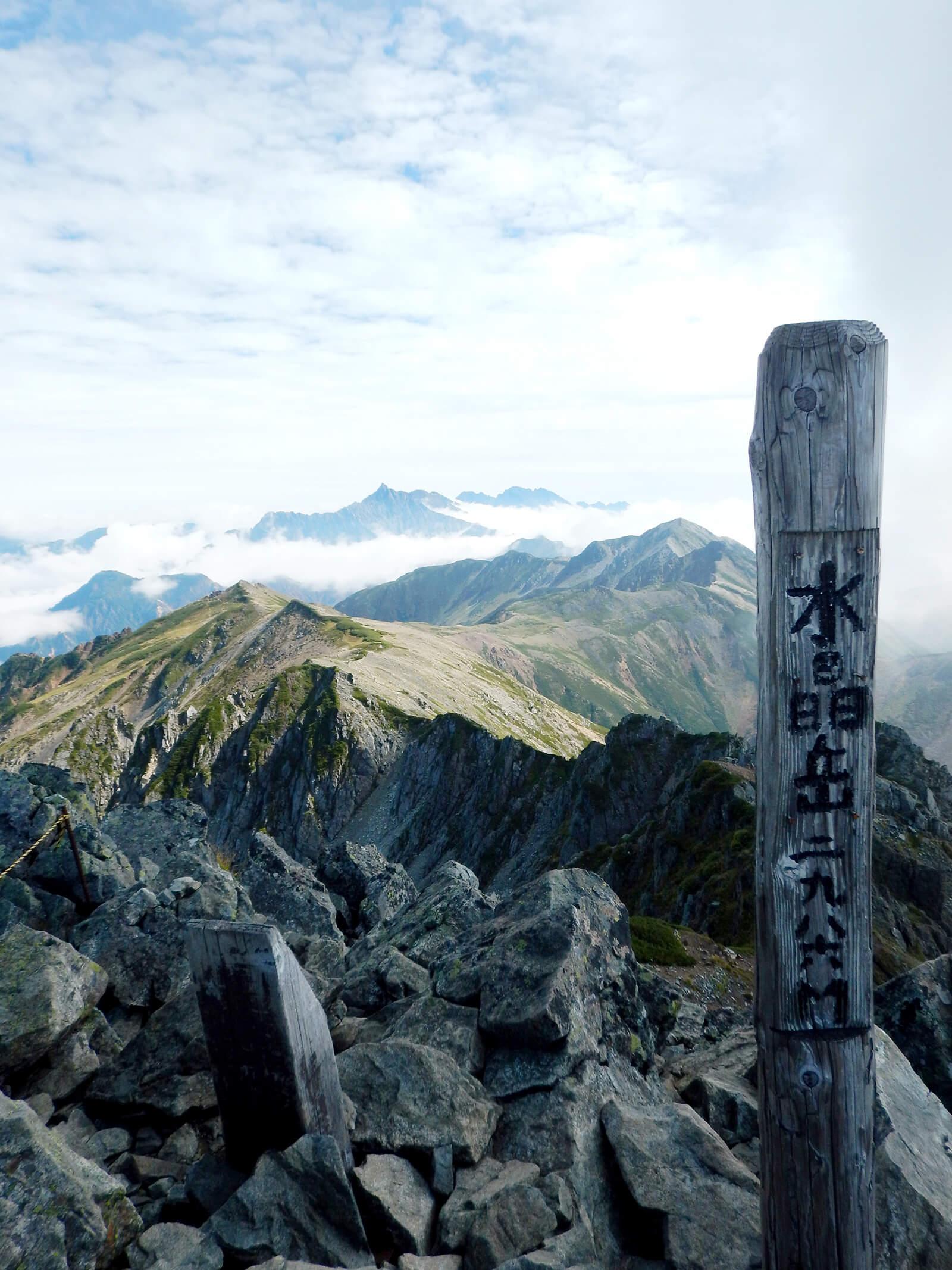 水晶岳の標識