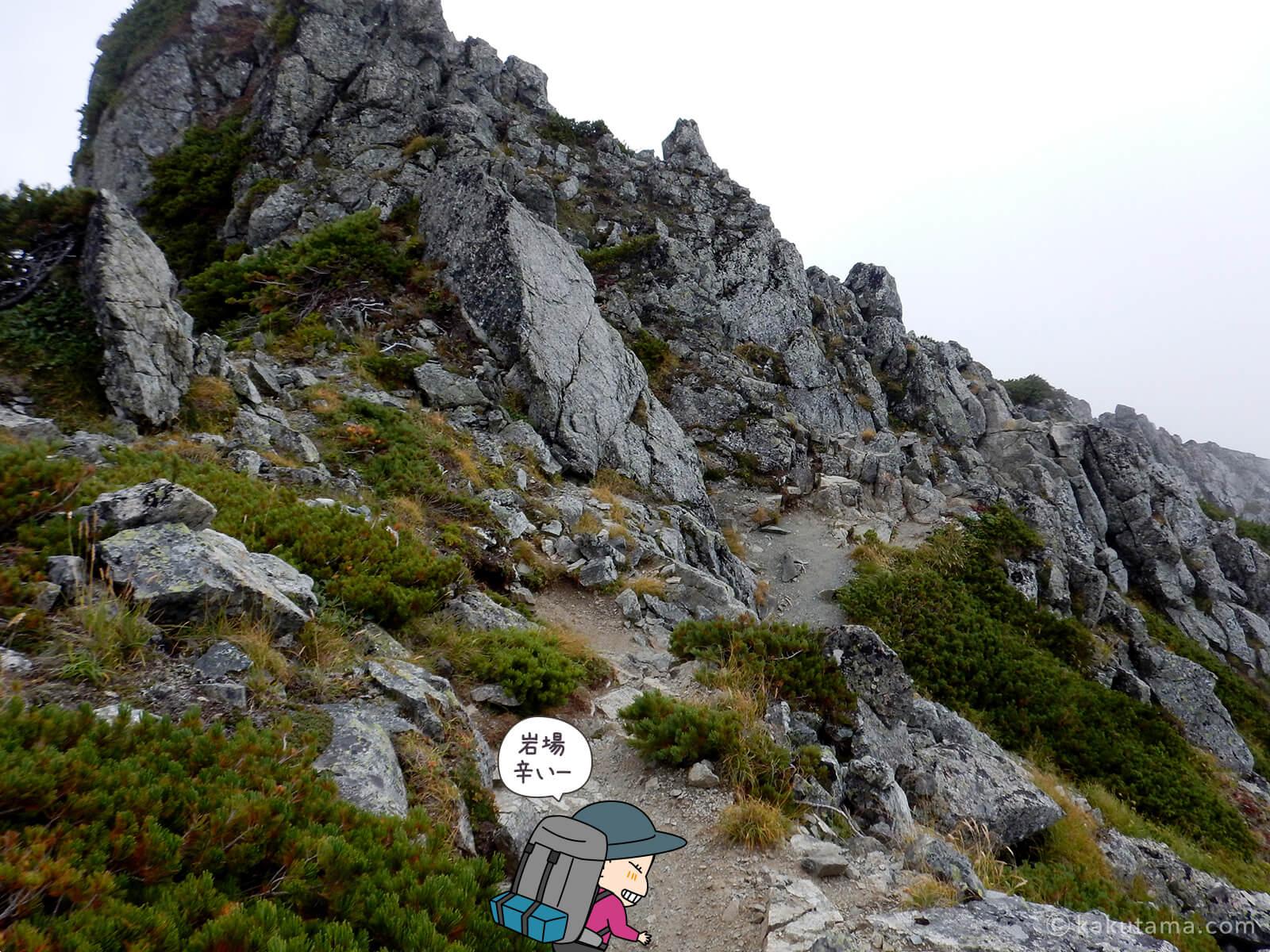 水晶岳から下山3