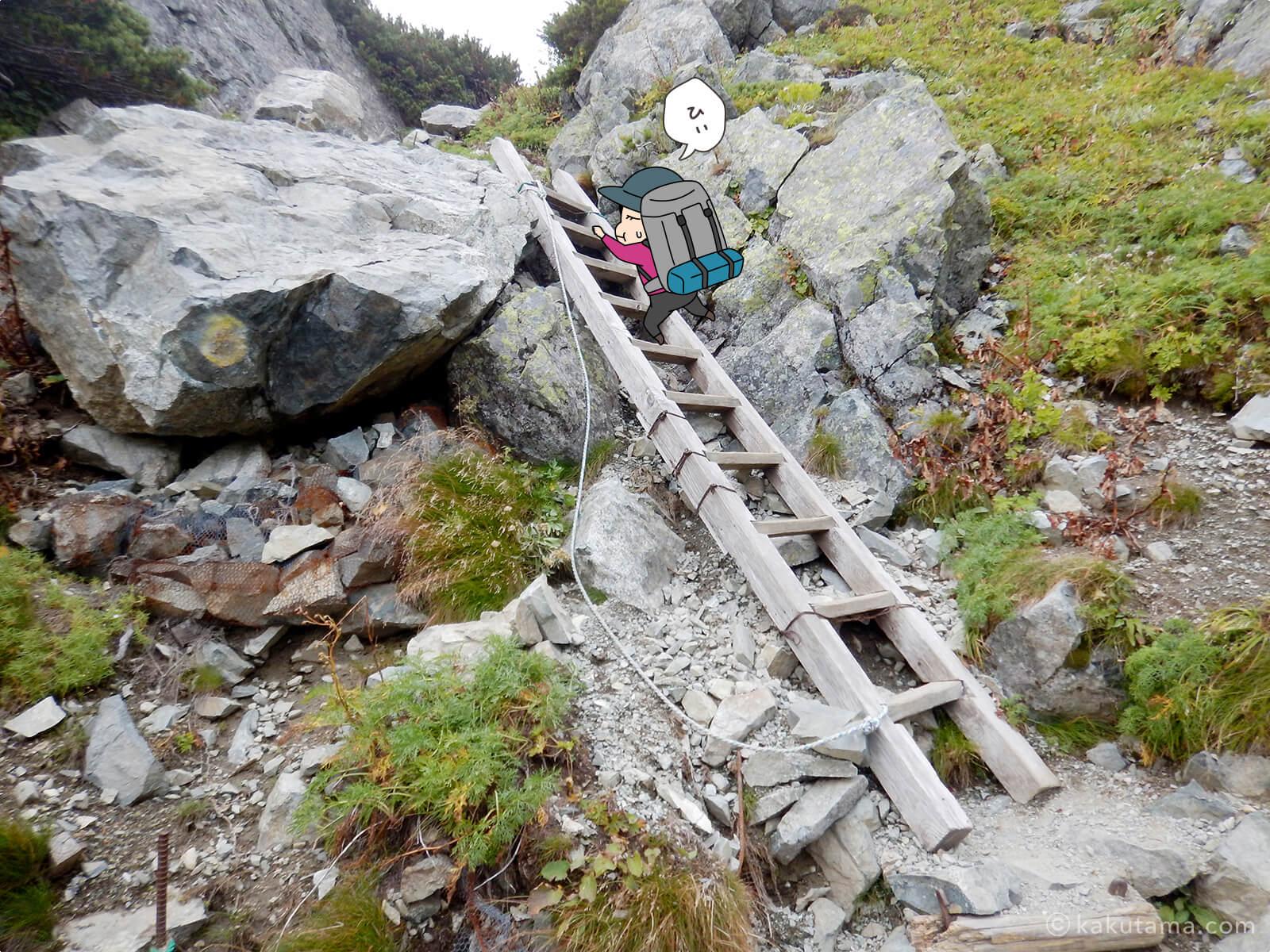 水晶岳から下山8