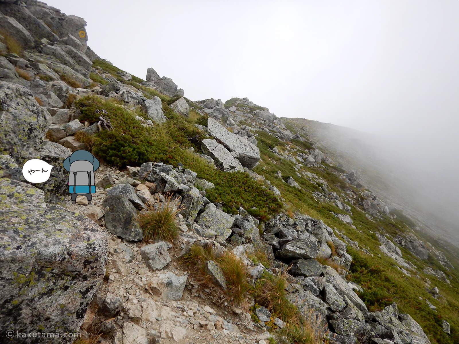 気が抜けない水晶岳の登山道