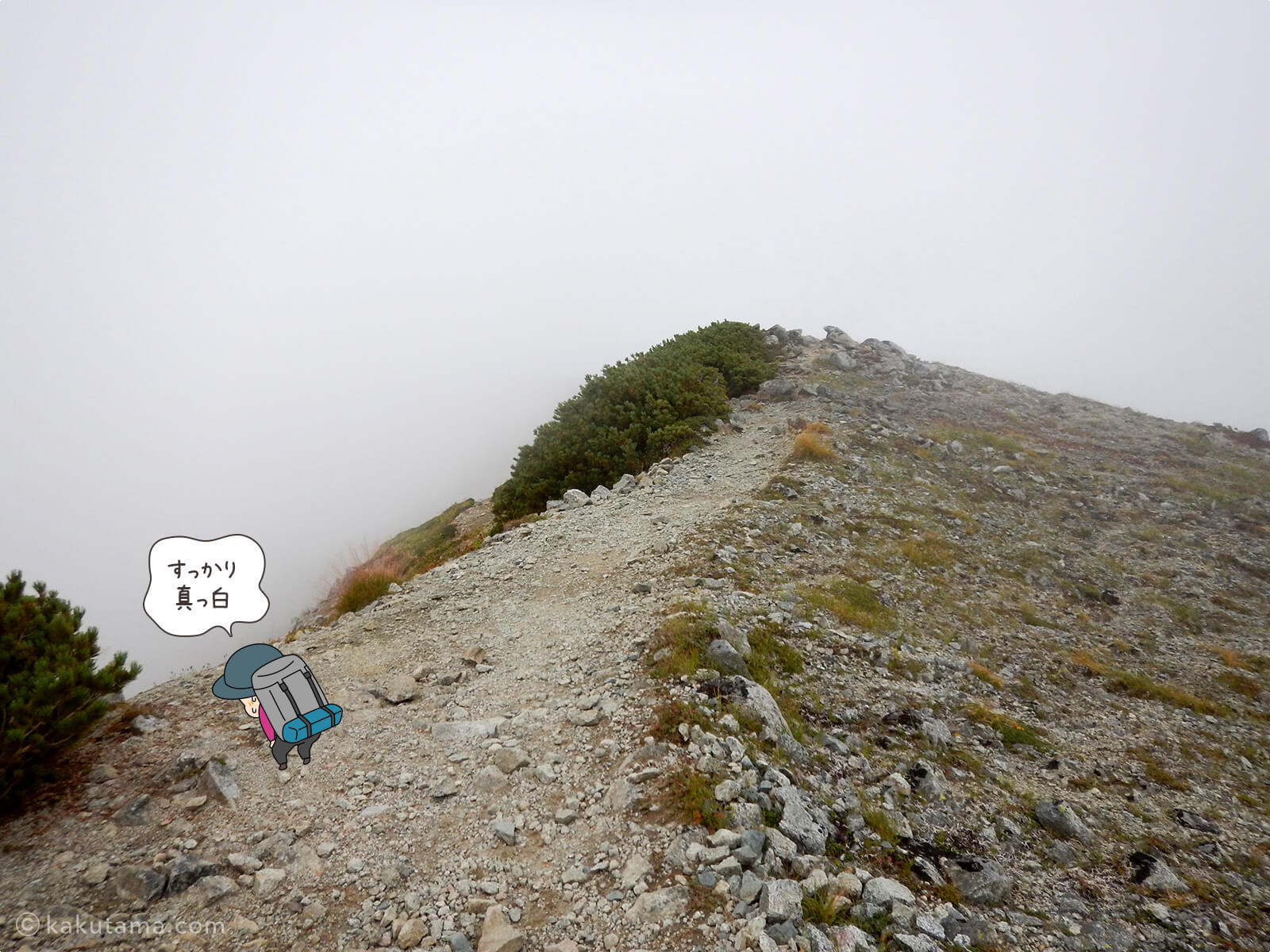 ガスった水晶岳から水晶小屋までの登山道1