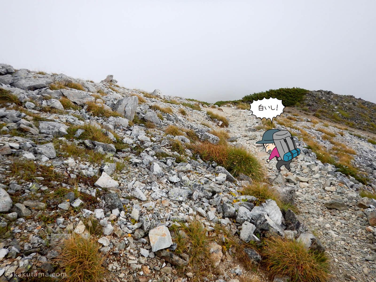 ガスった水晶岳から水晶小屋までの登山道3
