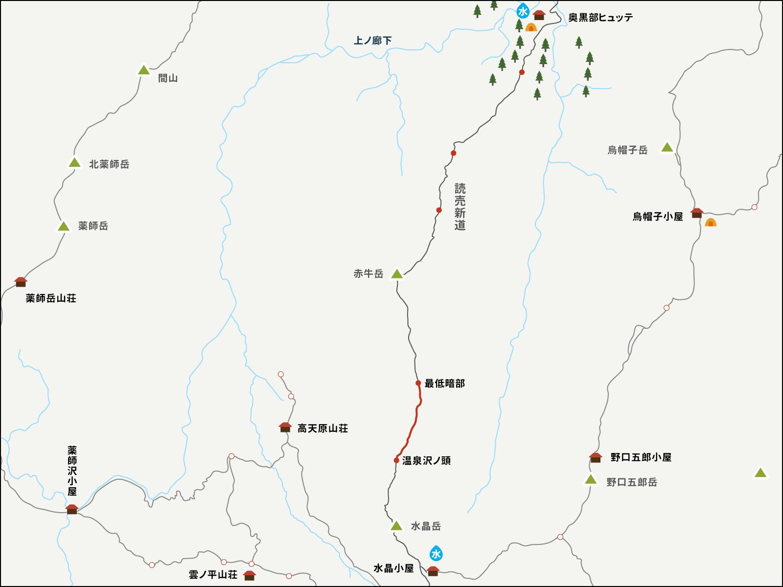 最低鞍部から温泉沢の頭までのイラストマップ