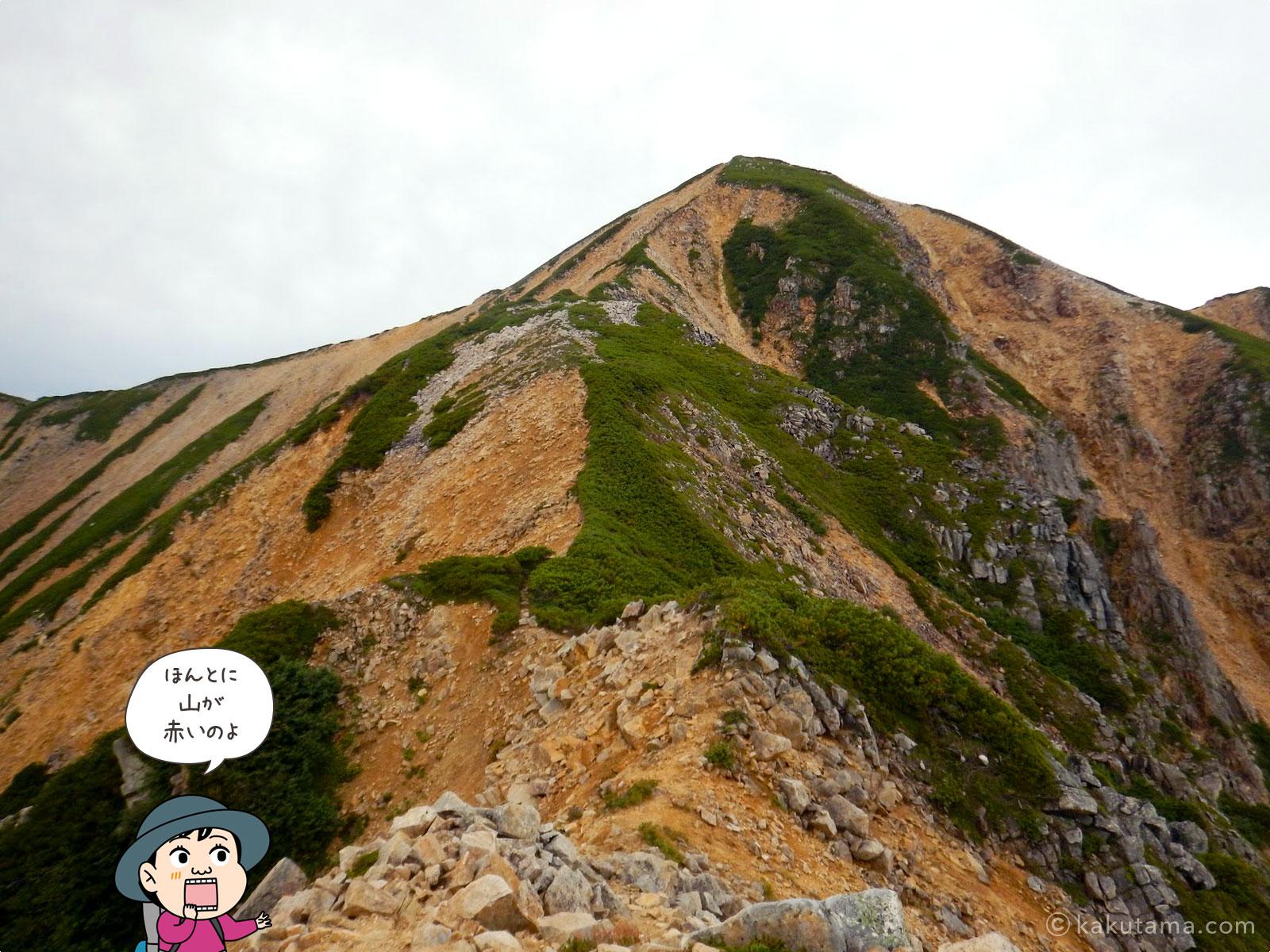 赤い岩肌の赤牛岳