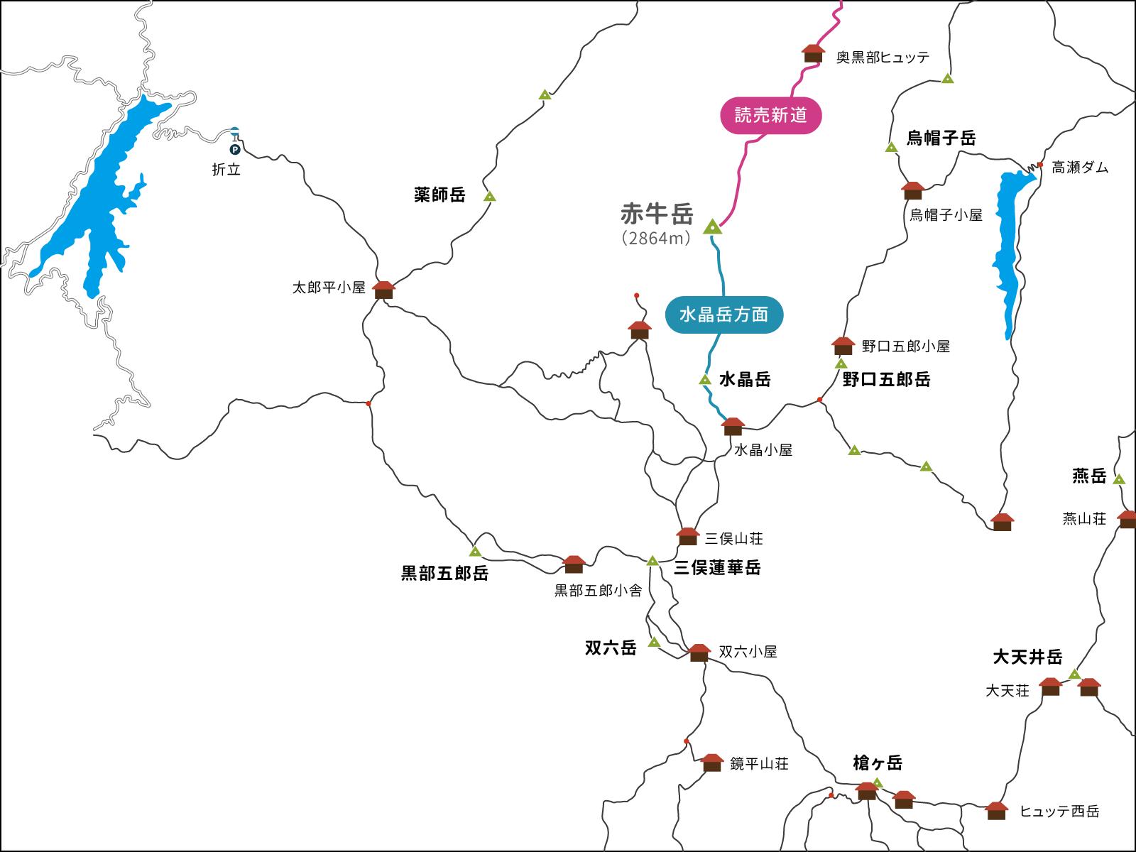 赤牛岳へのイラストマップ