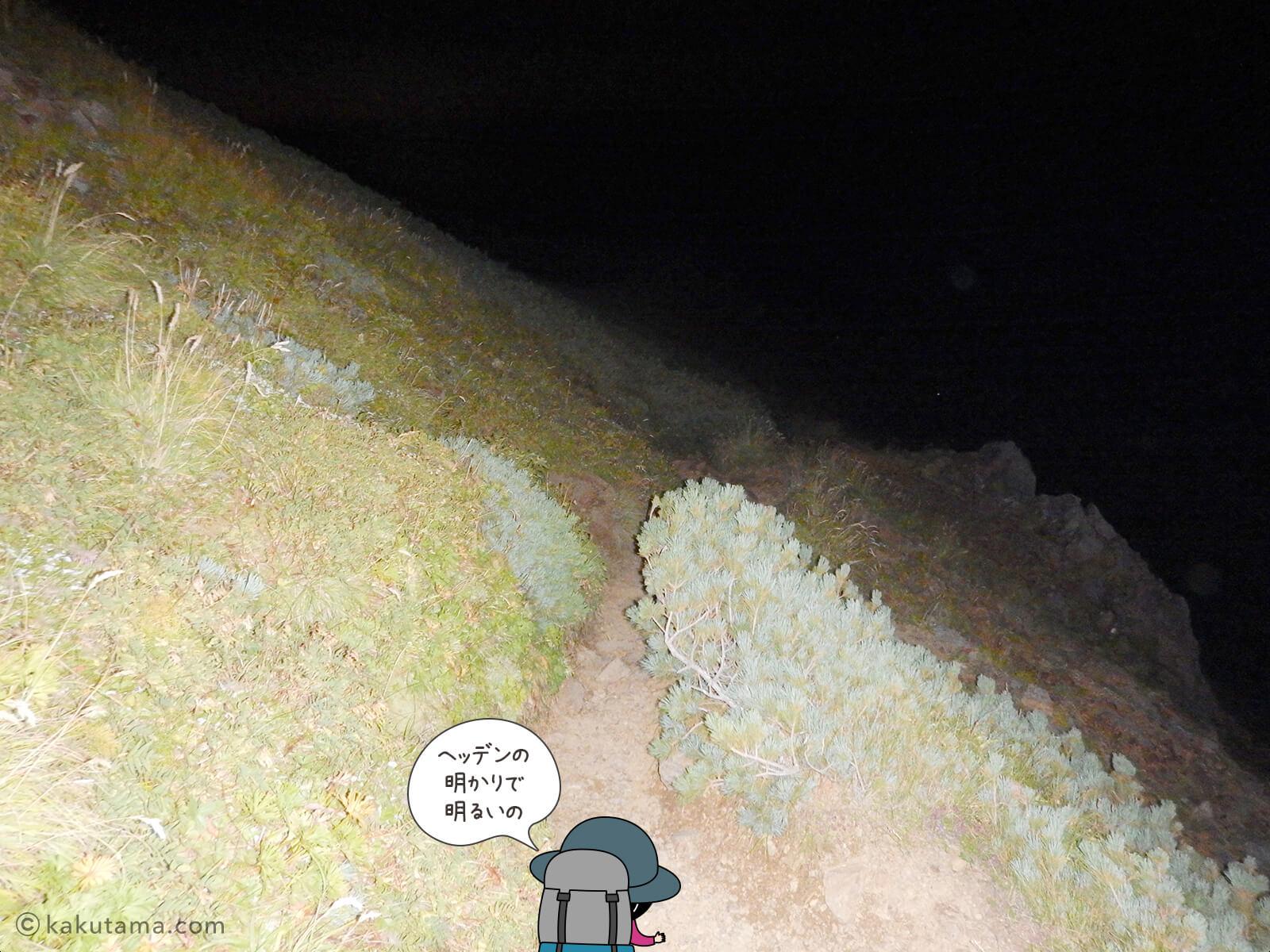 真っ暗な登山道1