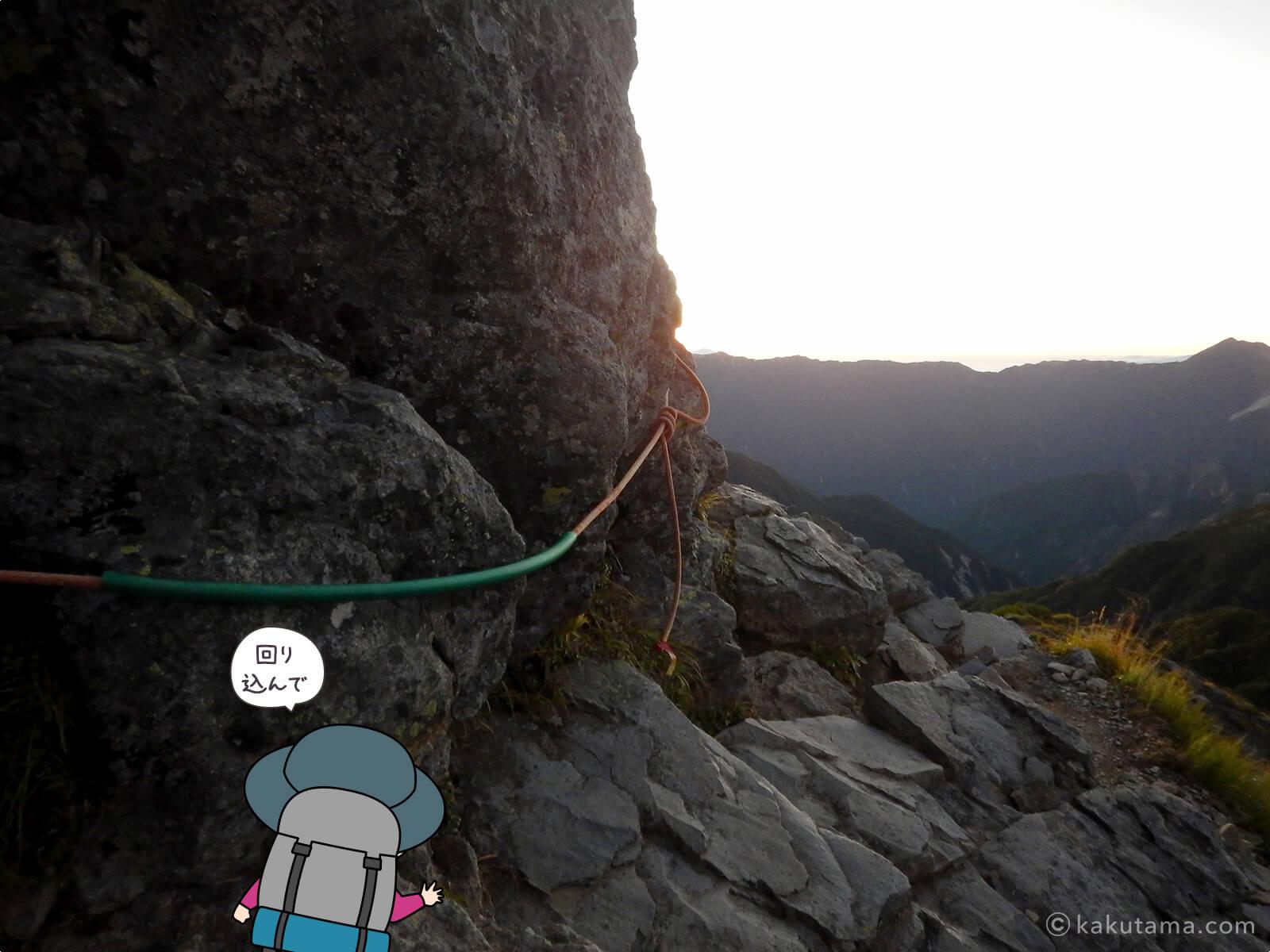 ワリモ岳から回り込む