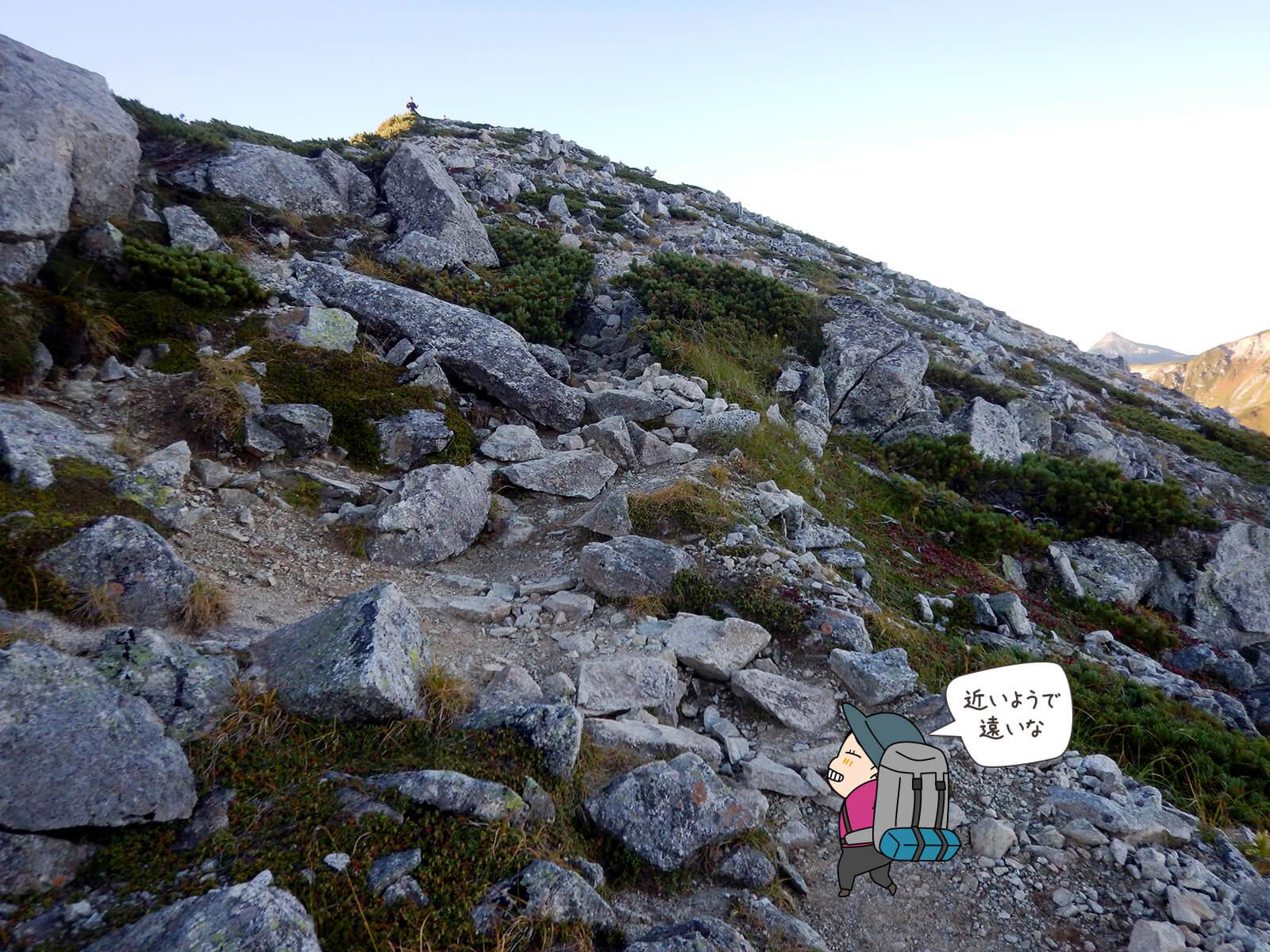 なかなか着かない鷲羽岳山頂1