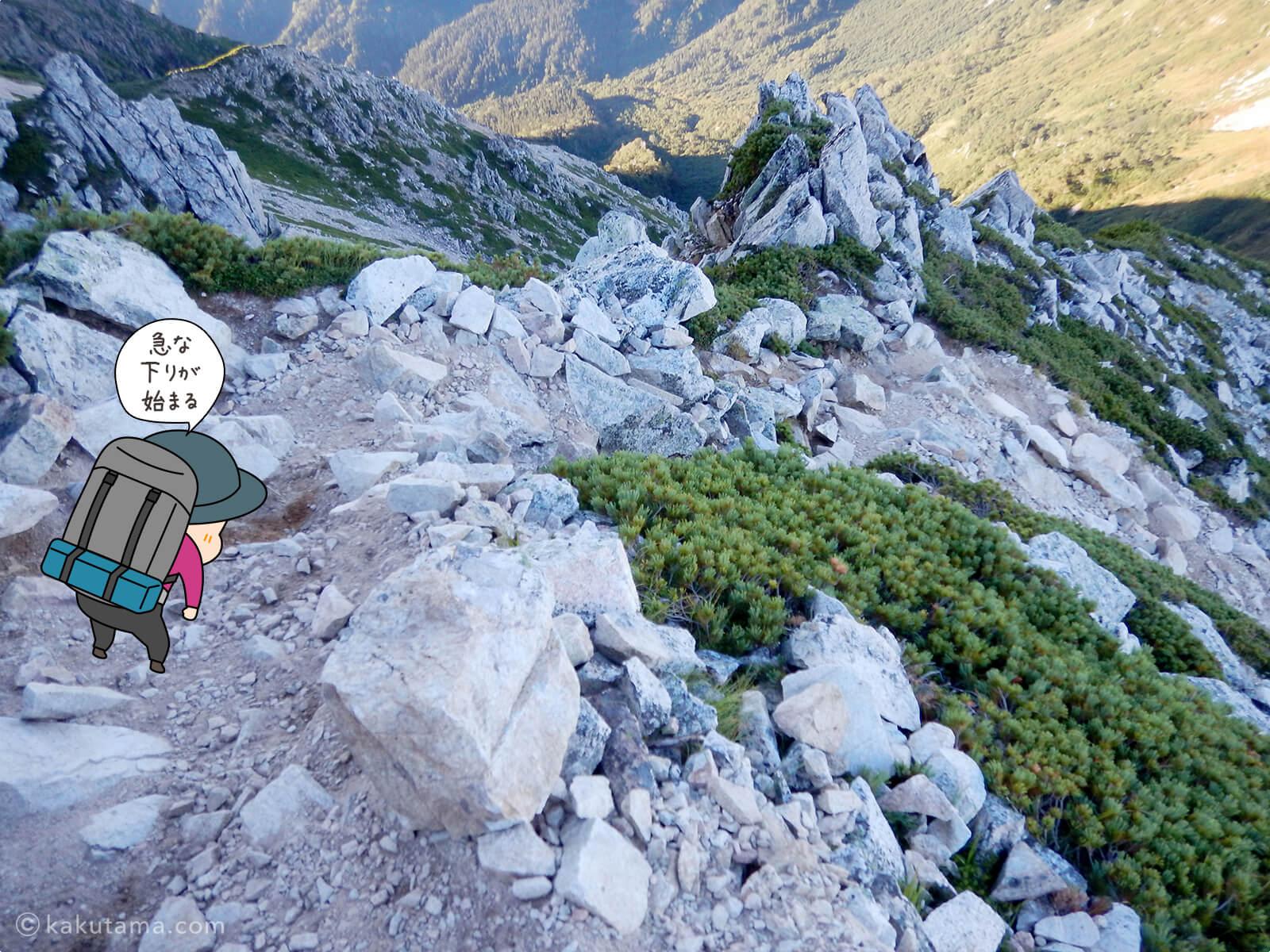 鷲羽岳からの急な下り道1